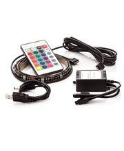 LED pásik 2ks, 2x 30cm, do USB, 15 diód, diaľkový ovládač, 16 farieb, samolepiace LED pásy